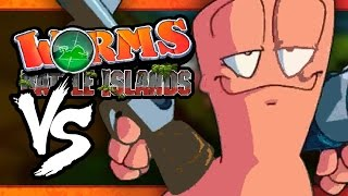 VS MODE: Worms: Battle Islands - WRONG BUTTON!! (Part 1) (4-Player)