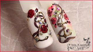 Якорь. Морской дизайн ногтей гель лаком