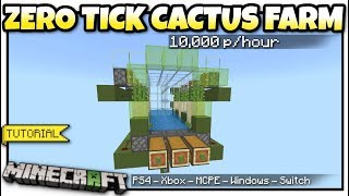 Minecraft Bedrock - ZERO TICK CACTUS FARM 🌵 10Kp/hr [ Tutorial ] PS4 / MCPE / Xbox /Windows /Switch