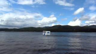 珍しい水陸両用バスKABA号の出港?風景です。
