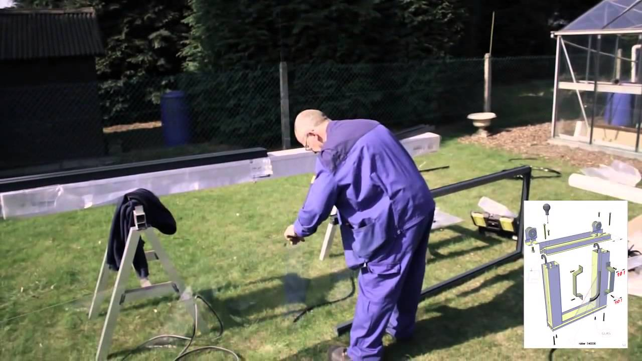 Aufbauanleitung Schiebetur Glashaus Gewachshaus Youtube