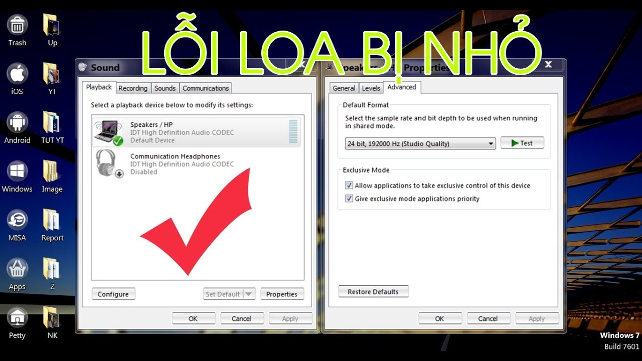 Fix loa bị nhỏ trong Windows 7-8-10 | Fix low sound problem on windows 7/8/10