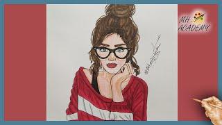 رسم بنات كيوت بالرصاص بنظارة Mp3