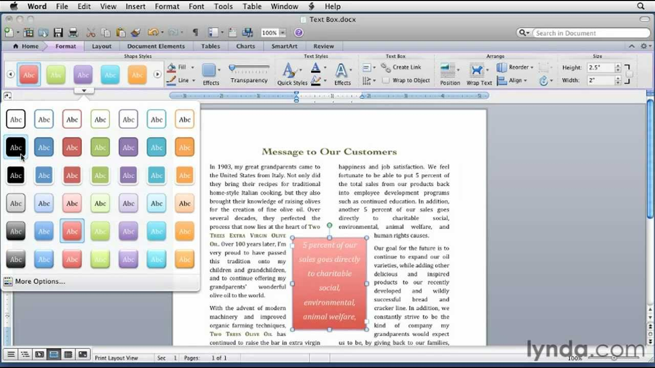 How to Insert and format a text box in Microsoft Word for