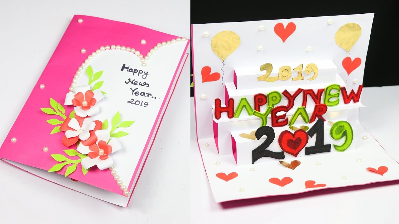 New year greeting card | How to make 3d greeting card for ...