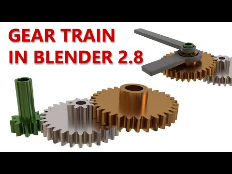 Blender 2.8 Tutorial: How to Design a Simple Gear Train with Coaxial Input and Output Shafts thumbnail