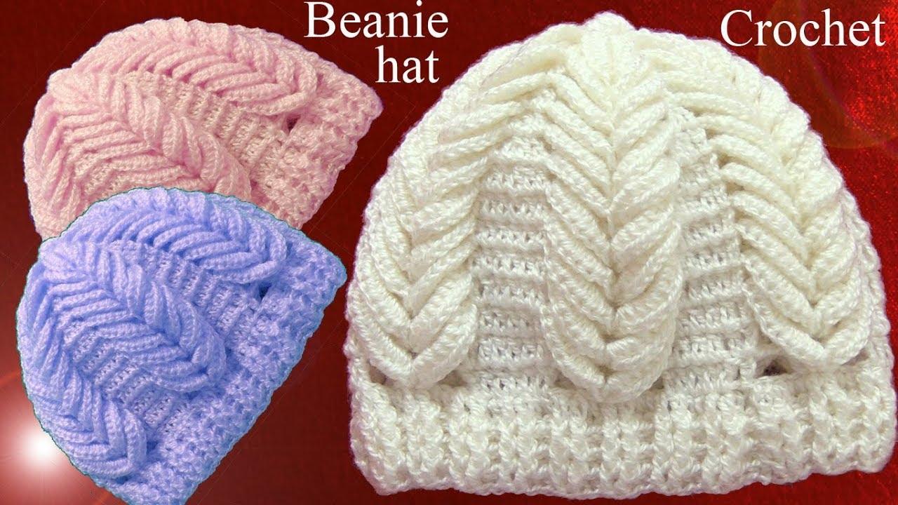 Gorro a Crochet en punto espigas de trigo en relieve tejido ...
