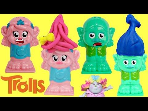 Poppy & Branch Are Bald!  TROLLS Play-doh Press n Style Hair Salon
