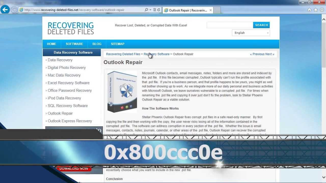Fix Outlook Error 0x800ccc0e
