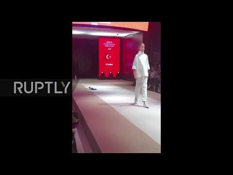 CAT Moss! Fashionable feline prowls the runway at Istanbul fashion show