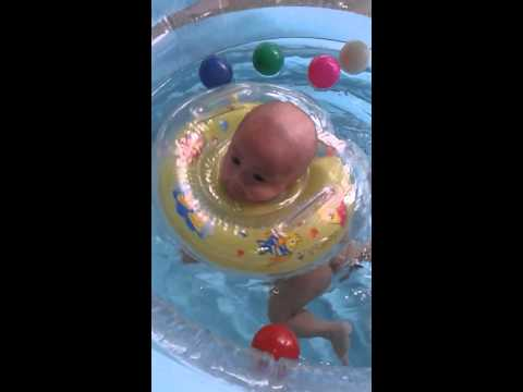 Baby max 12 weeks first time in pool dec3 2014 doovi 3 month old baby swimming pool