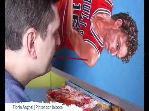 Florin Anghel, Pintor Con La Boca, Retrata A Pau Gasol