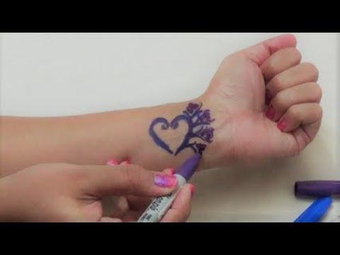 Temporary Tattoo Using Sharpie Baby Powder And Hair Spray Diy