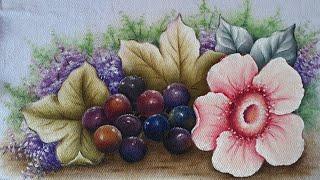 Pintura De Uvas Com Flor Do Campo