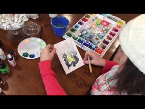 Painting with gouache abstract demo by Megan Carty