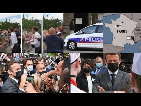 French President slapped in face while shaking hands with a man