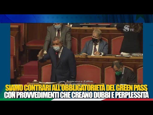 Il Sen. Zaffini in dichiarazione di voto sul Dl Green Pass