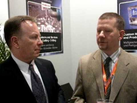 George Ruffner interviews small business attending the Hannover Messe 2010