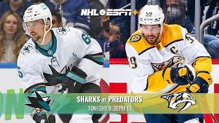 Sharks vs. Predators on ESPN+ | Tonight at 8:30pm ET
