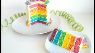 Saftige Regenbogentorte mit Regenbogenfrosting / einfach / Rainbow cake with rainbowfrosting