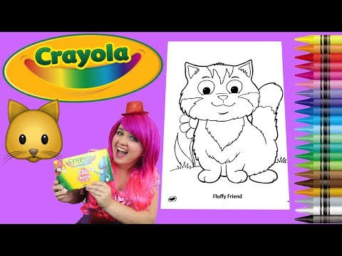Coloring a Fluffy Kitty Cat Coloring Book Page Crayola Crayons | KiMMi THE CLOWN