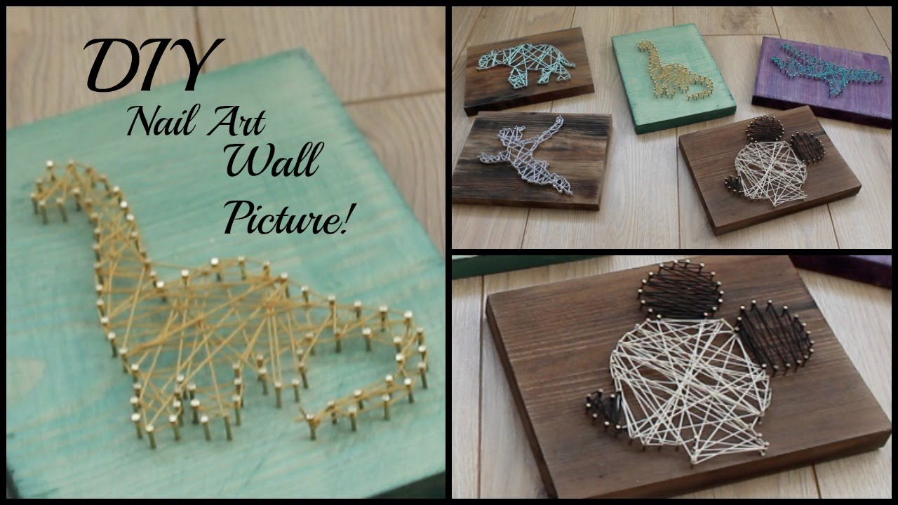 Diy Nail String Art Picture Easy Home Diy Art Youtube