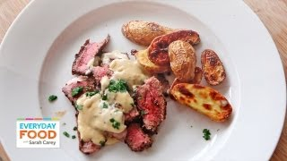 steak au poivre with roasted fingerling potatoes   everyday food with sarah carey