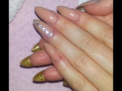 How To Almond Shaped Nails With Gold Glitter Bottom