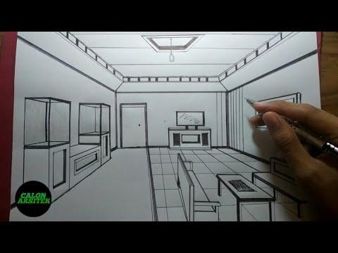 Menggambar Perspektif Interior Ruang Tamu Satu Titik Lenyap Part 2 Calon Arsitek Youtube