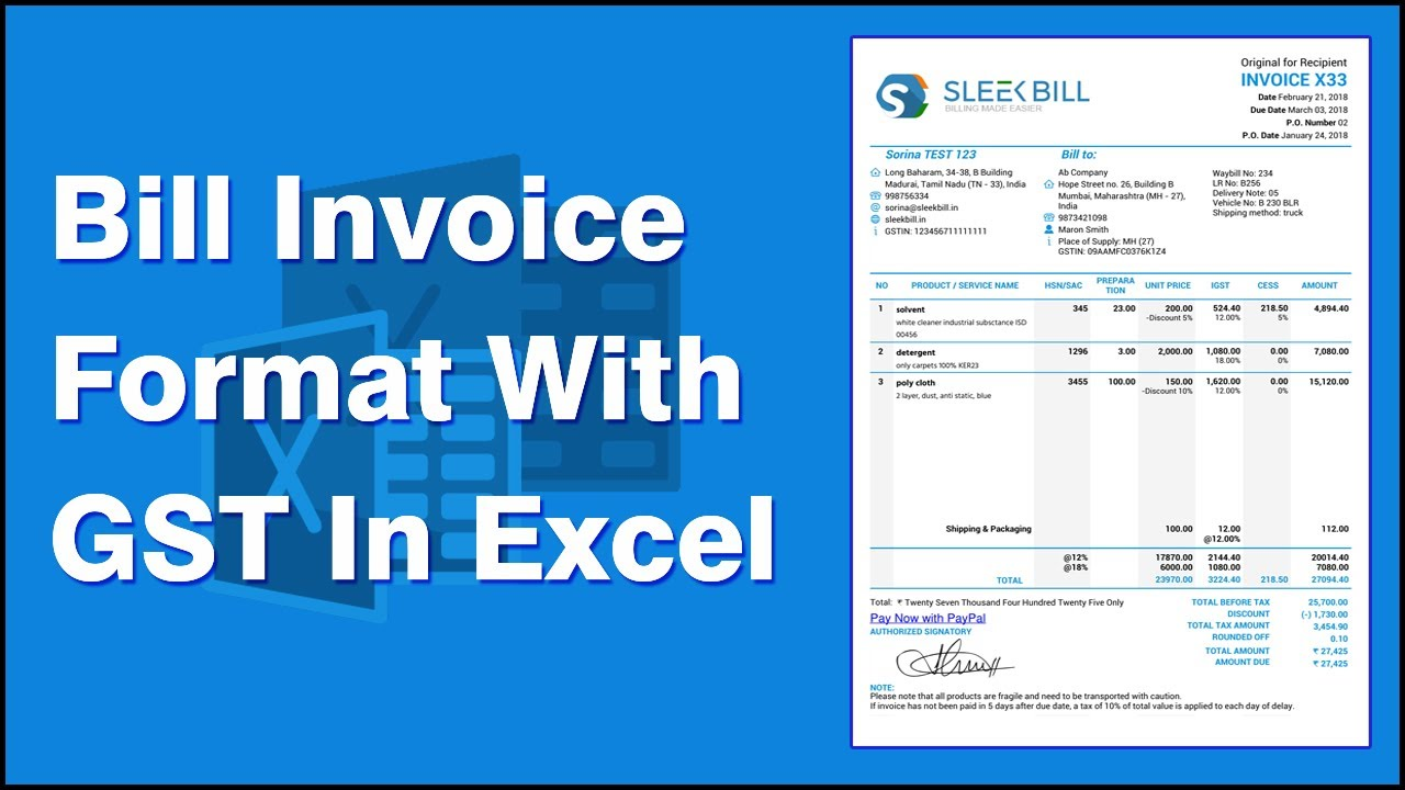 Billinvoice Format With GST In Excel YouTube - Gst tax invoice template excel online music stores