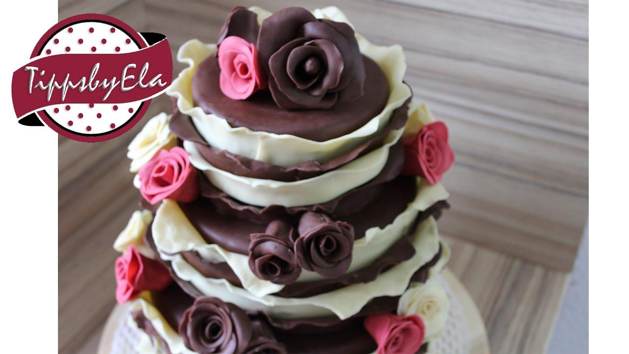 3 stckige Torte Verlobungstorte mit Schokoladen Modelliermasse Hochzeitstorte ohne Fondant