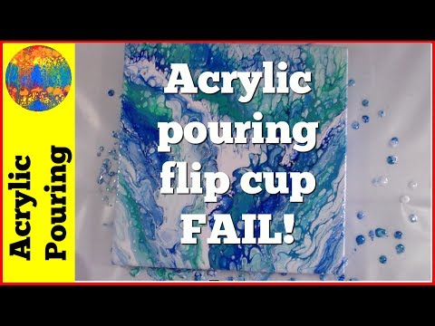Acrylic Pouring Multi-Cup Flip Cup Technique With Ocean Colors