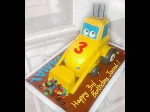 Birthday Cake Ideas Digger : How to make digger birthday cake out of fondant - YouTube