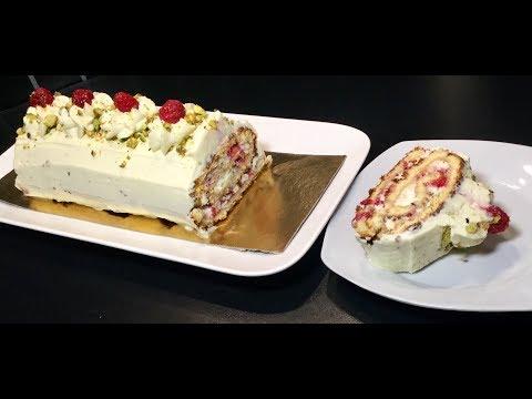 recette-idÉale-pour-les-fÊtes-de-fin-d'annÉe-la-bÛche-framboise,chocolat-blanc-pistache