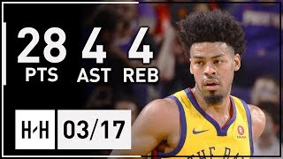 Quinn Cook Full Highlights Warriors vs Suns (2018.03.17) - 28 Pts, 4 Asts, 4 Reb