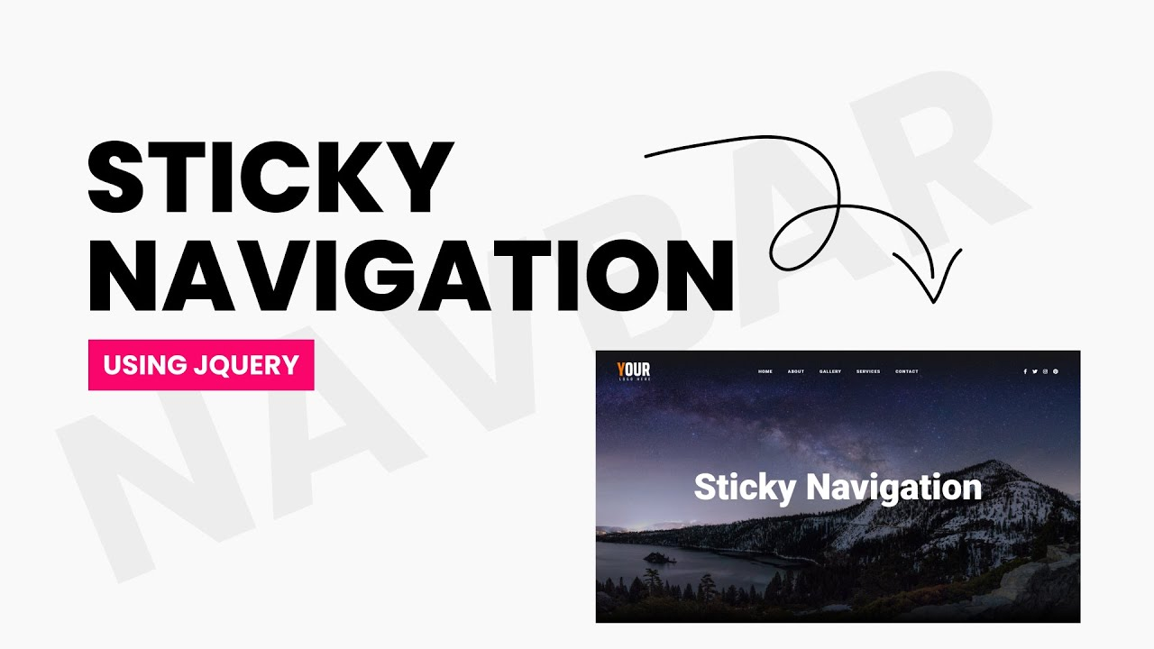 How to Make Sticky Navigation Bar using CSS & JQuery | JQuery Projects