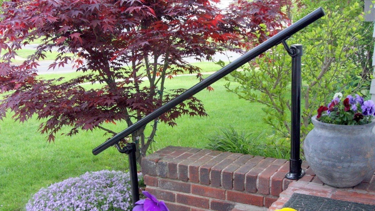 How To Install An Exterior Step Handrail On Your Front Porch Youtube   3 Step Outdoor Railing   Matte Black   Simplified Building   Aluminum Railing   Front Porch   Handrail Picket