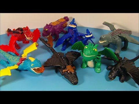 2010 HOW to TRAIN YOUR DRAGON SET OF 8 McDONALD'S HAPPY MEAL MOVIE TOY'S VIDEO REVIEW