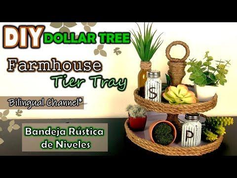 Dollar Tree DIY | Farmhouse - Nautical Tier Tray | English CC | Bandeja de Niveles