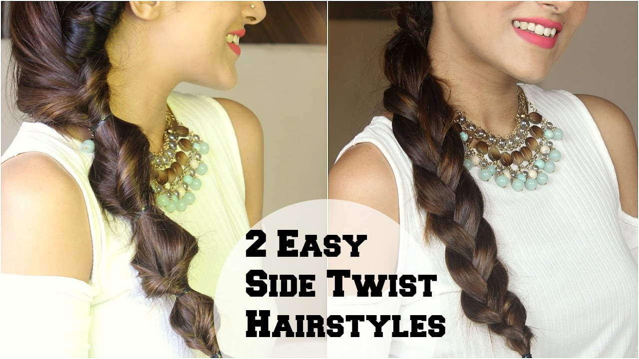 2 Subtle Twist Side Braid Hairstyle For Medium Long Hair Using Hair Extensions Indian Hairstyles Youtube