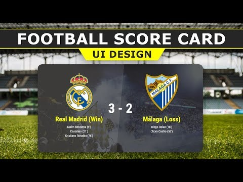 Score Card UI Design -  Live Score Card - Html5 CSS3 Score Card User Interface Design - Tutorial