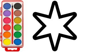 How to Draw Heart and Star | Kids Learning Color with Coloring Pages | Videos for Children