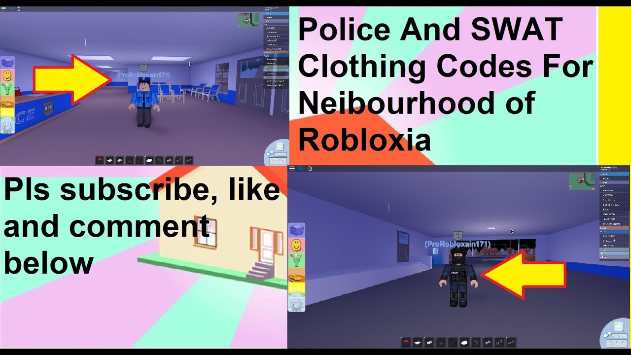 Police And Swat Clothing Codes For Neighborhood Of Robloxia Roblox Youtube