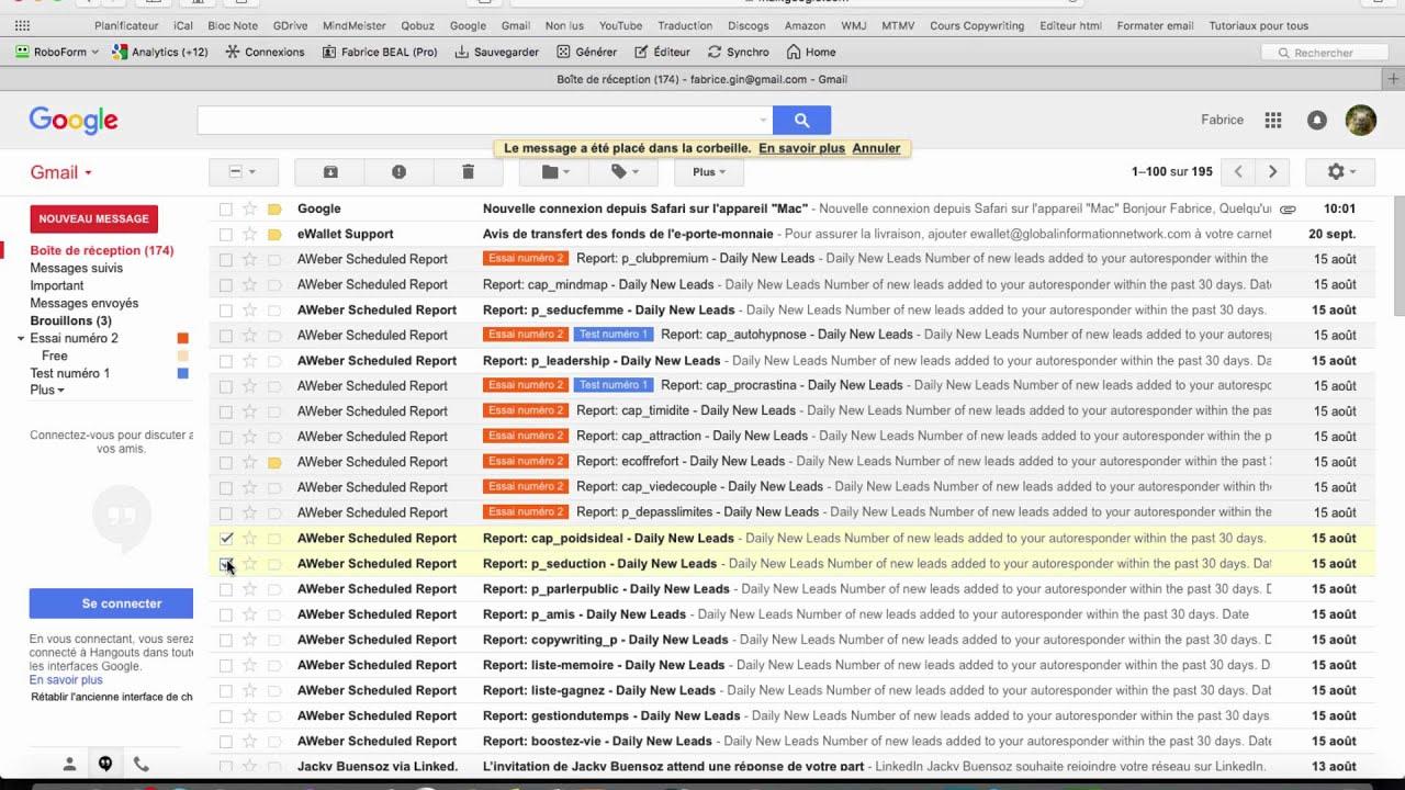 Supprimer un message / fonctionnement de la corbeille sur Gmail