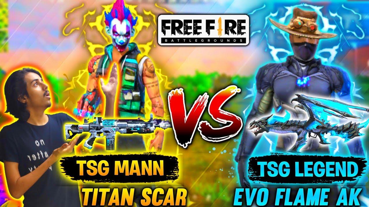 FREE FIRE || TSG MANN VS LEGEND || NATION WANTS TO KNOW BIGGEST BATTLE || TITAN SCAR VS EVOL AK47 ||