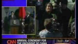 President Hu Jintao heckled at the White House