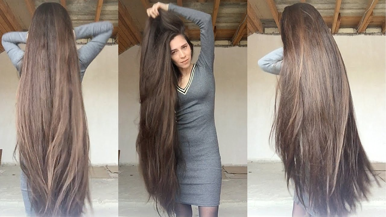 6 minutes of tamila's super long thick hair play and epic braid