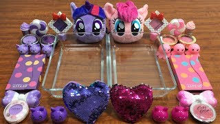 My Little Pony PINK Vs Purple Slime | Mixing Makeup Eyeshadow into Clear Slime ! Huong Slime