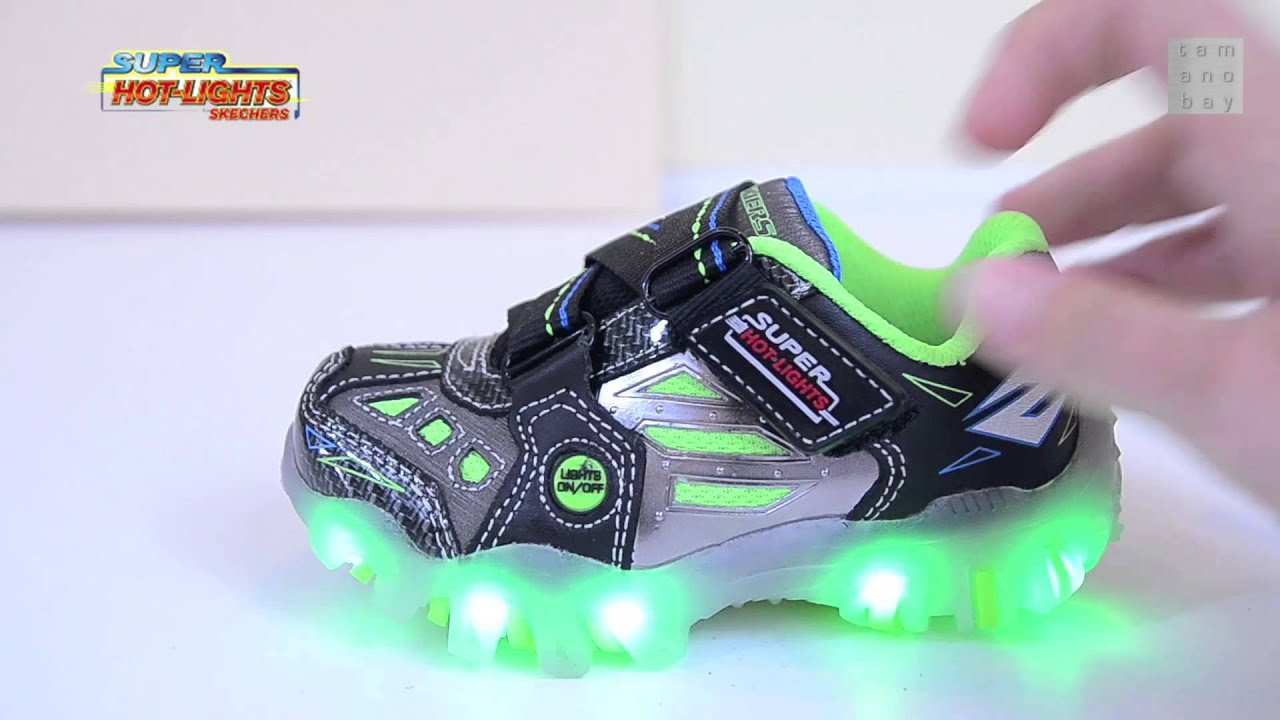 Boys SKECHERS Super Hot Lights SHOES Light Up Sneakers - YouTube