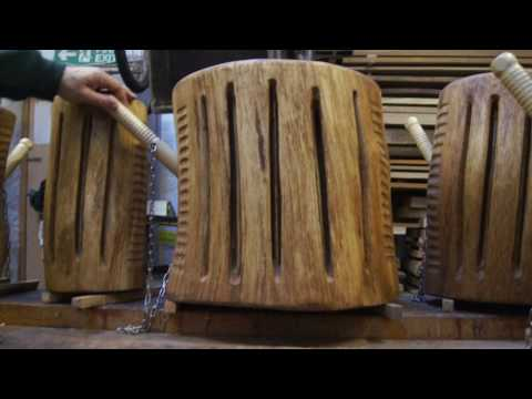 Carved wooden drums that are also seats